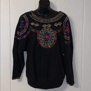 🎉Vtg 80s/90s Cristina beaded/sequined sweater🎊